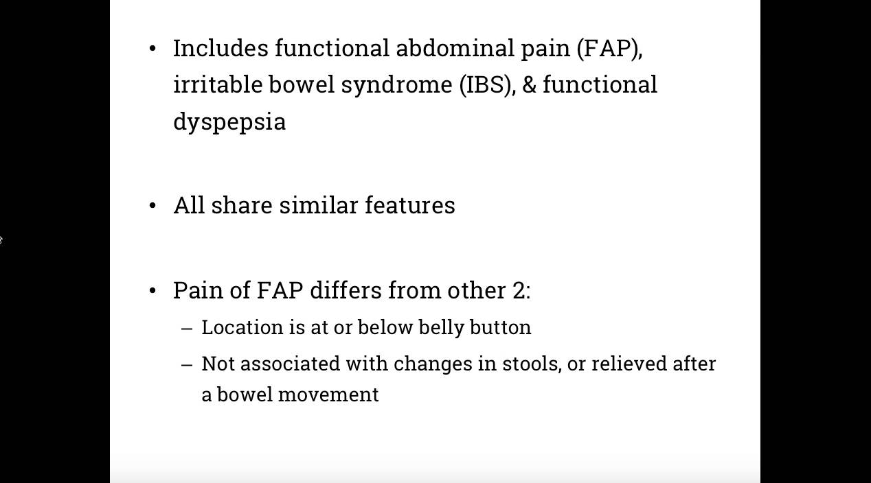 Functional Abdominal Pain Disorders
