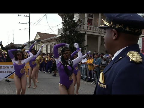 Southern University SU vs Miles College Marching Band - 2018 Bacchus Mardi Gras Parade