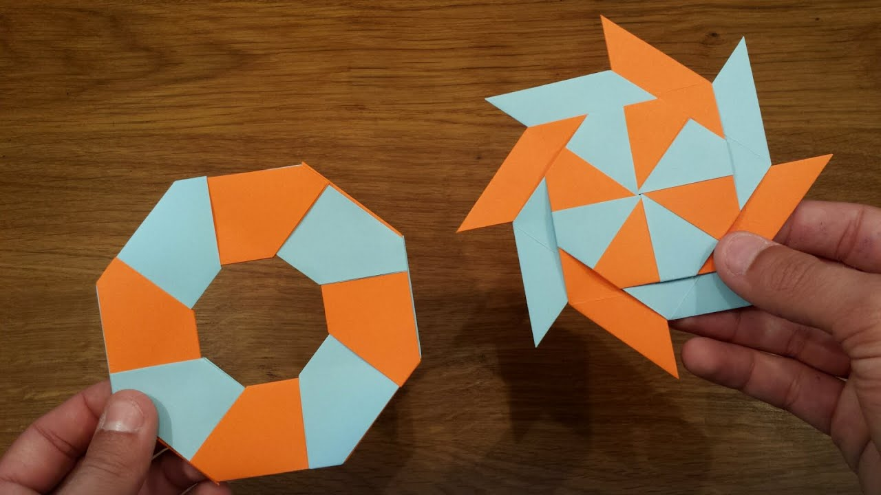 How To Make a Paper Transforming Ninja Star - Origami ... - photo#5