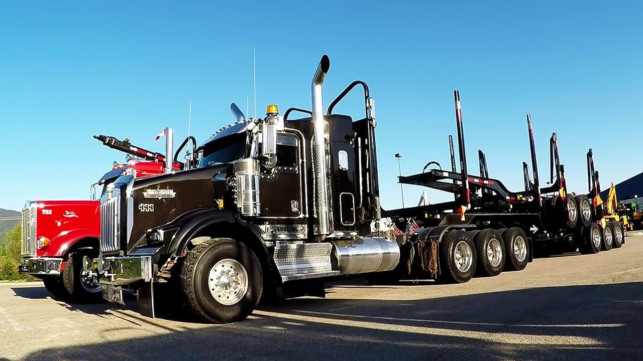 b c logging trucks 19 jf logging kenworth t800 peterbilt 367h cummins power [ 1280 x 720 Pixel ]