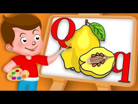 Drawing Alphabet Q Letter with Quince fruit Drawing Paint And Colouring For Kids kids Drawing TV