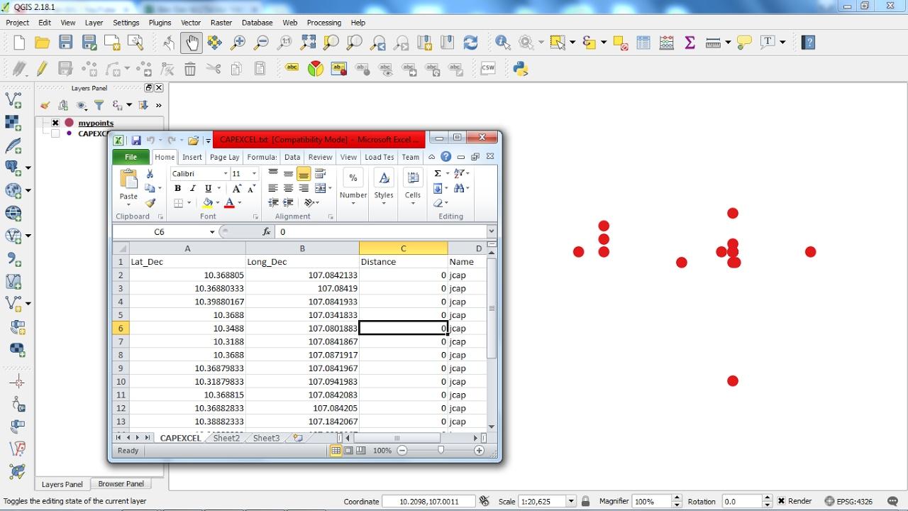QGIS Convert Excel to GIS