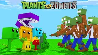 PLANTAS VS ZUMBIS NO MINECRAFT !!