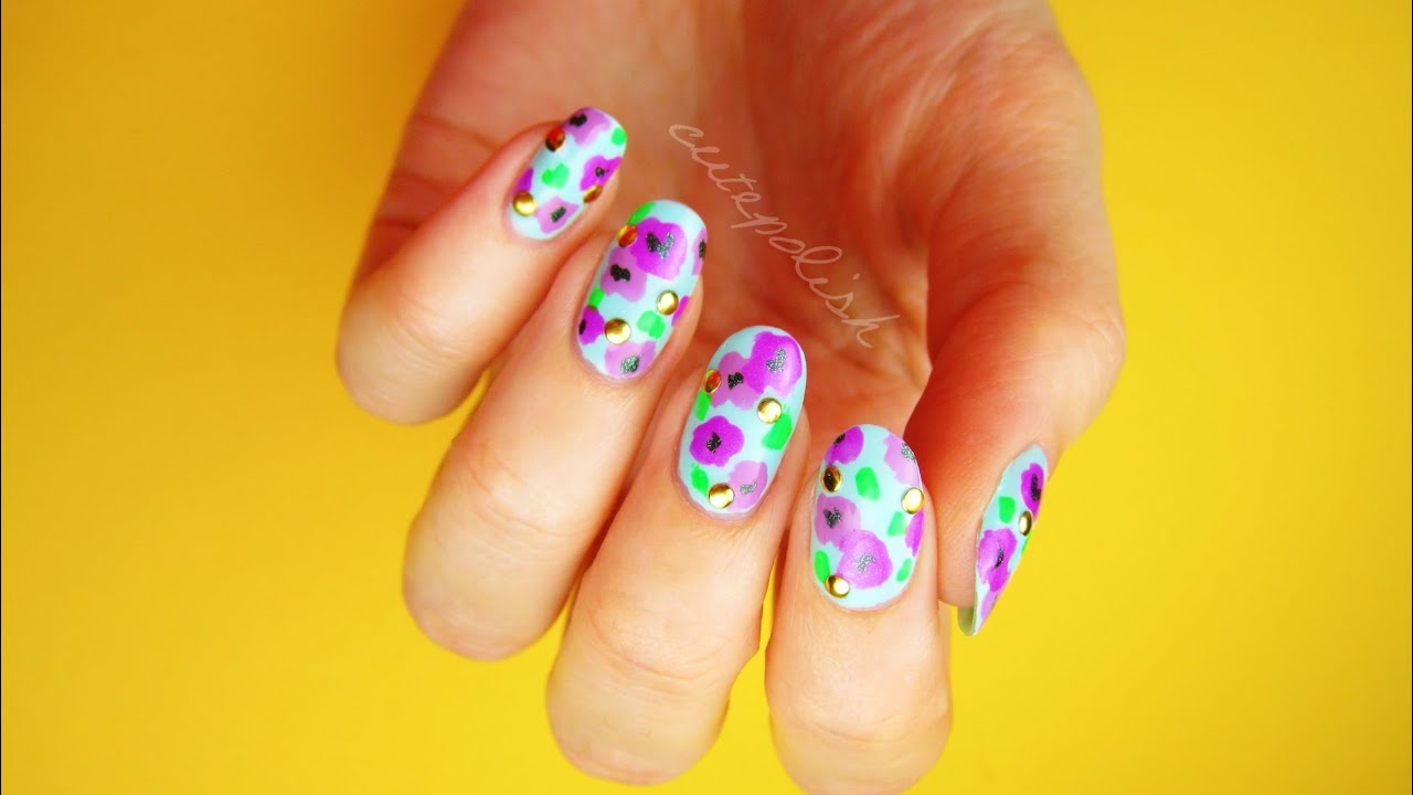 Bold Floral Nails for Spring! [No Tool Nail Art] - YouTube