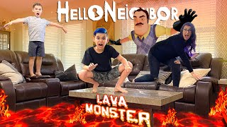 The Floor Is Lava! HELLO NEIGHBOR is the Lava Monster (FUNhouse Family) In Real Life Game