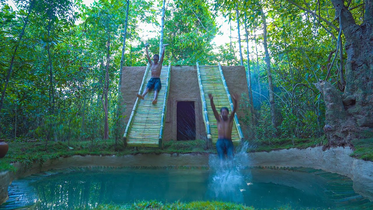 Build The Most Amazing Jungle Villa Swimming Pool with Double Bamboo Water Slides