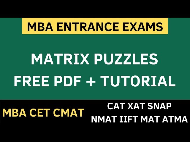 MBA CET 2020 - Matrix Puzzles | Logical Reasoning