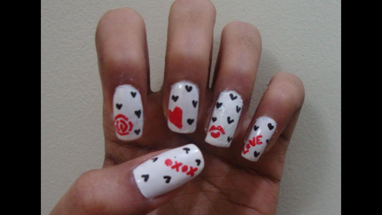 Valentineu0026#39;s Day Nails Simple And Easy Nail Art Using A Toothpick - YouTube