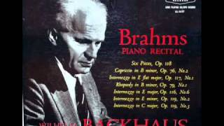 Brahms - Wilhelm Backhaus: Intermezzo in E flat major, Op. 117, No. 2 - Recorded November 1956