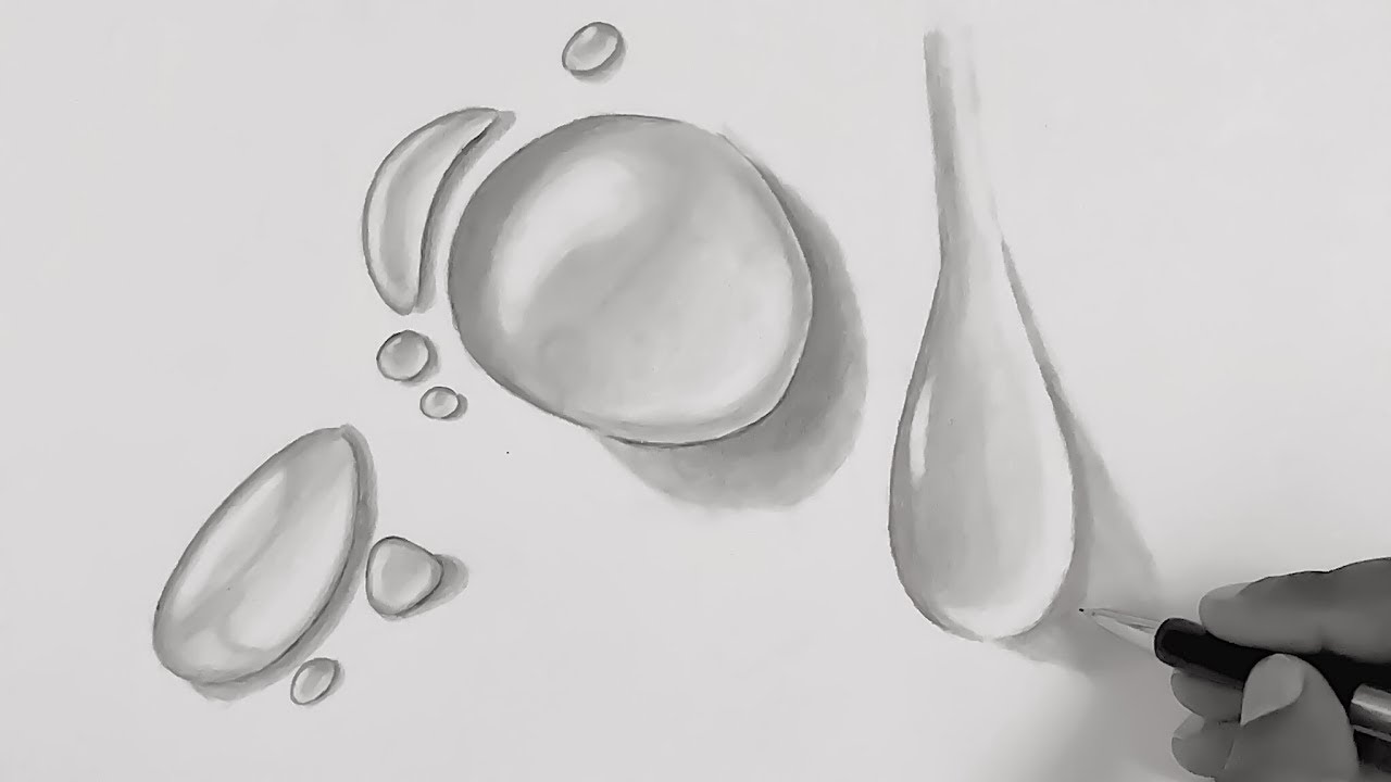 How To Draw Water Droplets Pencil Drawing And Shading Techniques Water Drops Youtube