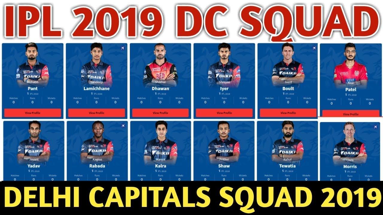 Ipl 2019 Delhi Capitals Team Squad Delhi Capitals Confirmed And Final Squad For Ipl 2019 Youtube