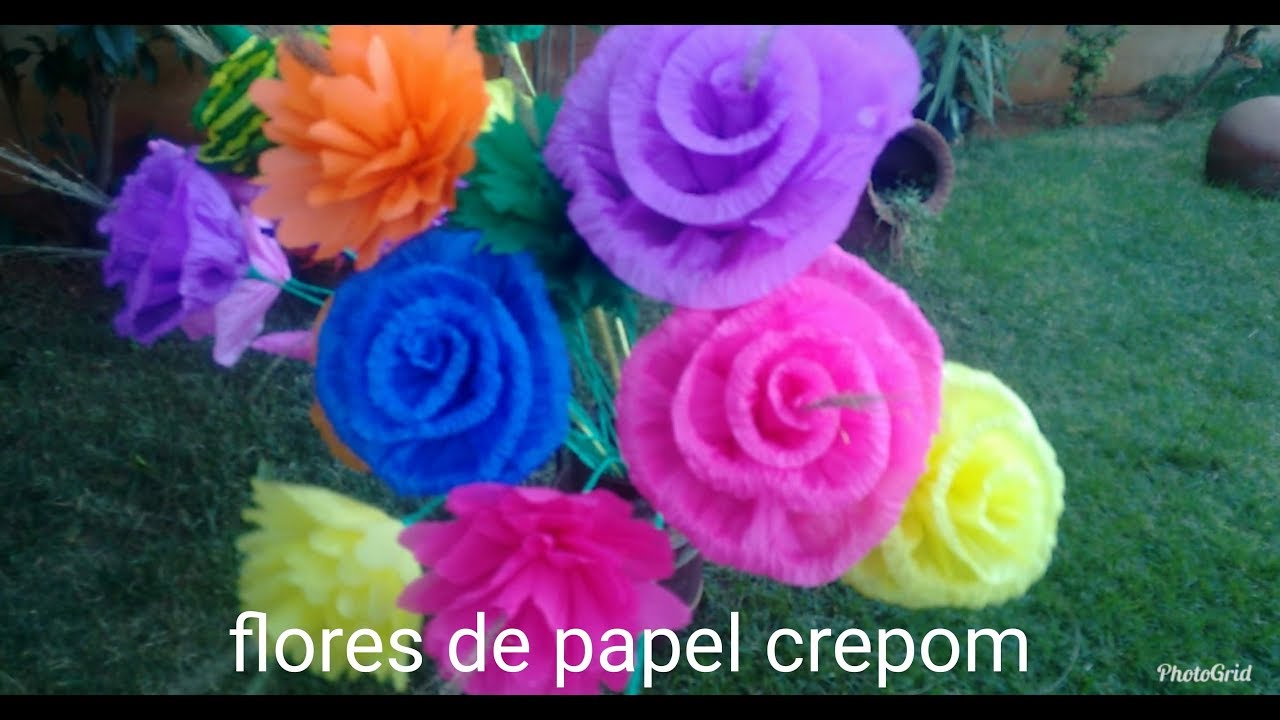 FLORES DE PAPEL CREPOM COMO FAZER DIY DECORA u00c7ÃO PARA FESTA JUNINA YouTube -> Decoração De Papel Crepom Como Fazer