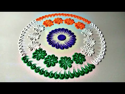 Independence day theme rangoli | easy rangoli for independence day