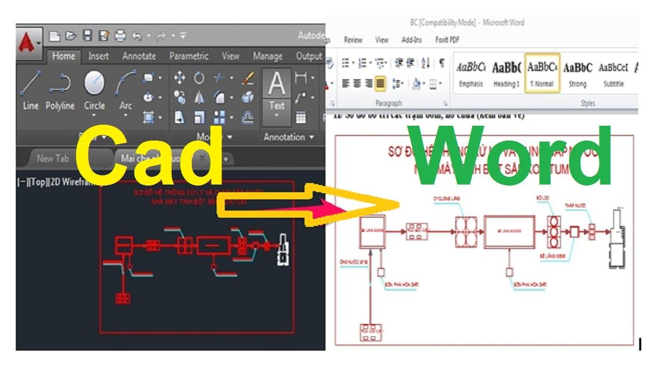 Cách copy bản vẽ cad sang word và chỉnh sửa lỗi font