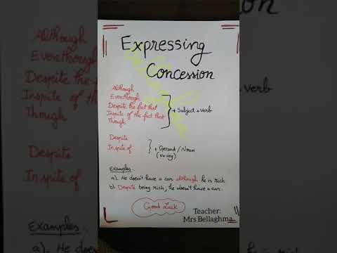 الدرس الثامن : Despite the fact that/ expressing concession 🤔🤔☺️☺️الأستاذة بلاغمة 🙄🙄🙄