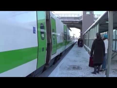 Finnish reserve set train, Pendolino, stops at Karis railway station