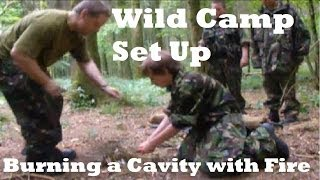 Wild Camp, Cold steel Recon Tanto/Barong machete and Burning a Cavity with Fire