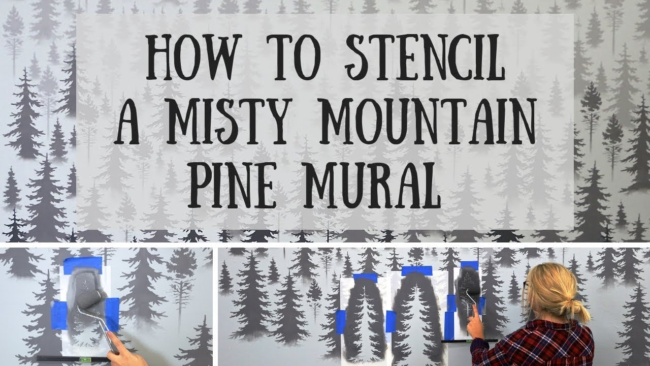 How To Easily Stencil A Misty Mountain Mural In 2 Hours [ FULL TUTORIAL ]