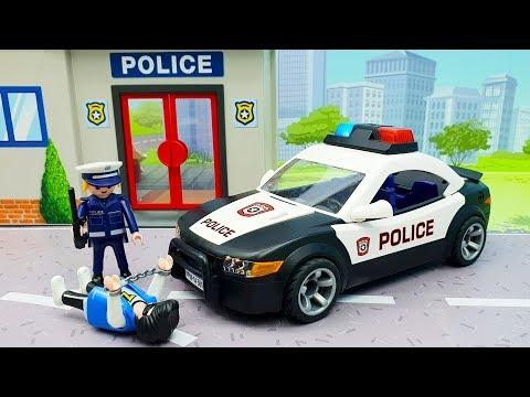 Мультики про машинки - мультики для детей с игрушками Плеймобил полицейская машинка - Динамит!