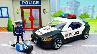 Мультики про машинки - мультики для детей с игрушками Плеймобил полицейская машинка - Динамит