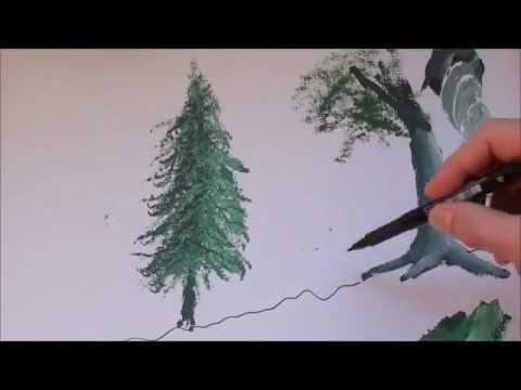 Malen Mit Acrylfarben Bäume Teil 22 Youtube