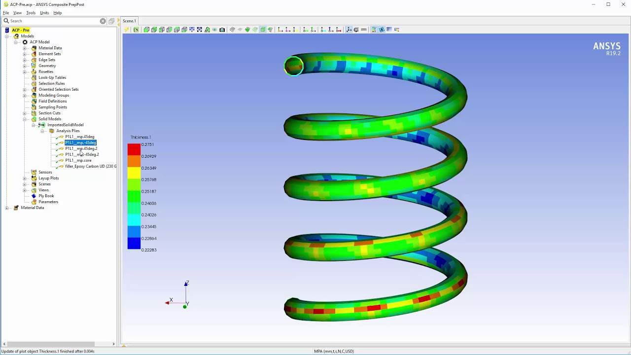 ANSYS ACP: Lay-up Mapping of a Composite Spring