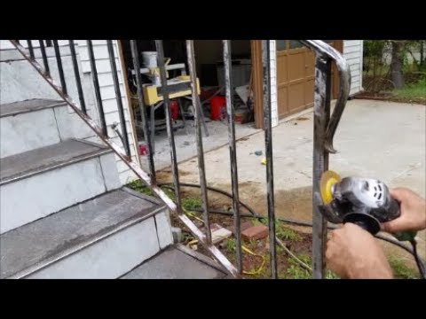Remove Rust From A Rusted  Iron Railing Or Fence Using metal Grinder Flap disc and twisted Wire