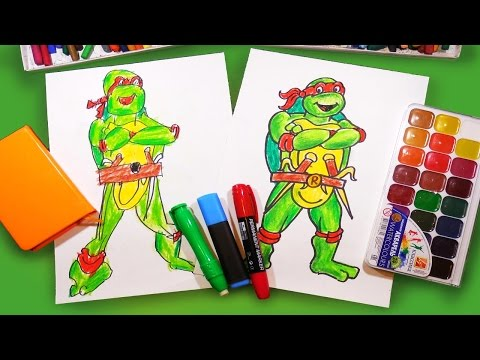 Как рисовать Черепашку Ниндзя Рафаэля | How to draw ninja turtles Raphael | Урок рисования для детей