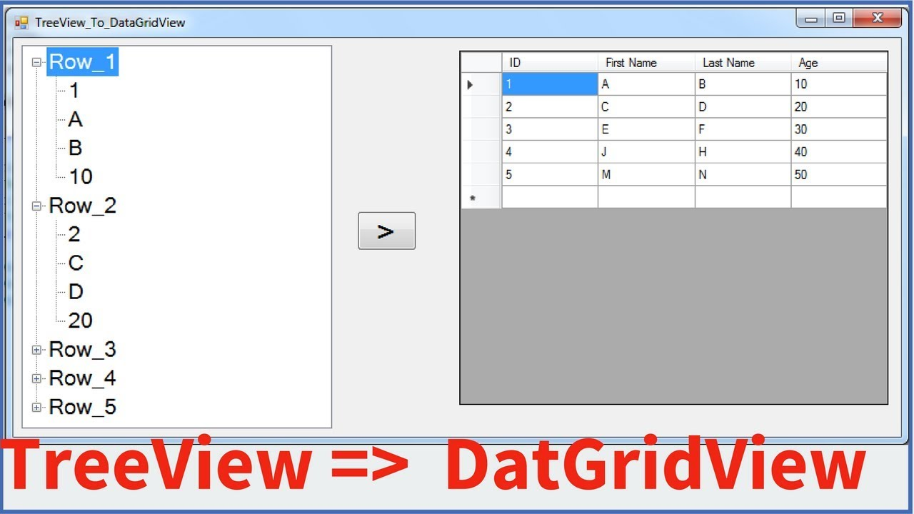 C# - How To Transfer TreeView Nodes Data To DataGridView Rows Using C# [  with source code ]