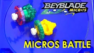 Beyblade Burst by Hasbro Micros Wave 2 Yggdrion Y2 vs Quetziko Q2 Battle