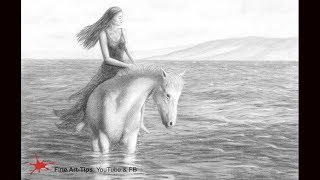 How to Draw a Beautiful Woman on a Horse, in the Water