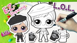 L.O.L.Surprise Doll Wave2 :Beatnik Babe★HOW TO DRAW★EP#22★Series 3★Coloring Pages♥Tutorial For Kids♥