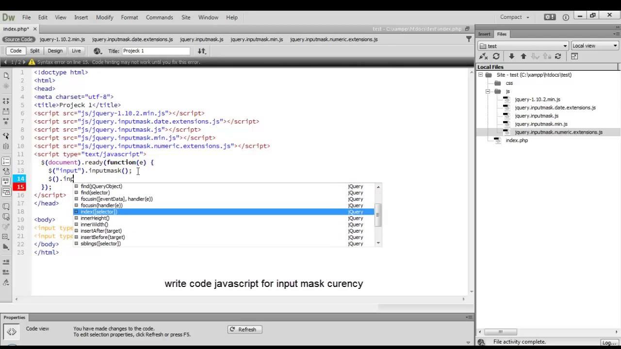 javascript input mask