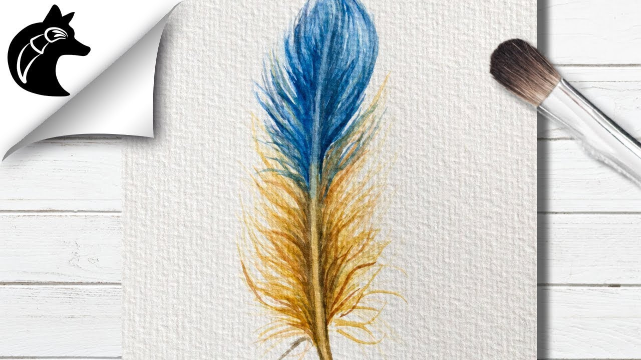 How To Paint A Feather With Watercolors  YouTube