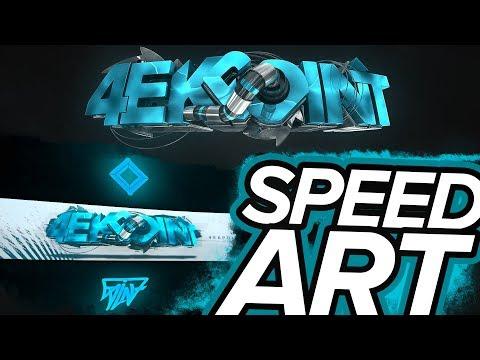 Design CS GO Banner For YouTube SPEED ART   Cinema 4D + Photoshop