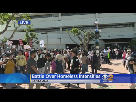 Dozens Of Protesters Gather Outside OC Supervisors Meeting Over Homeless Shelters