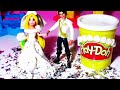 Play-Doh Rapunzel WEDDING DRESS Up Play Dough Fashion Fun Barbie Girls Princess Games Kids Doll Toys