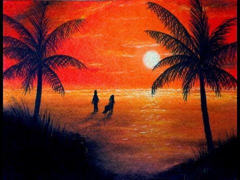 sunset beach drawing pastels youtube