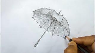 easy pencil umbrella sketch drawing draw