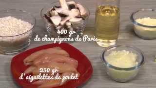 Recette simple et facile : le risotto de poulet aux champignons