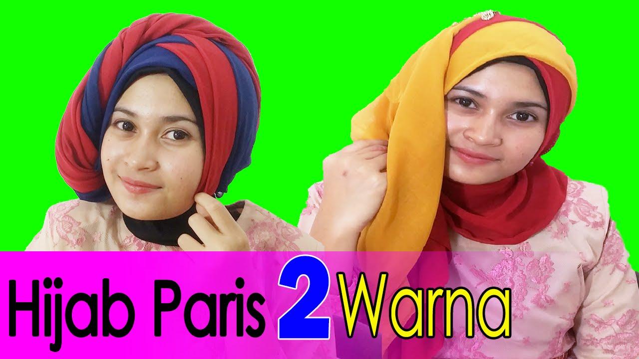 2 Cara Memakai Jilbab Paris Segi Empat Dua Warna By AWMCollection