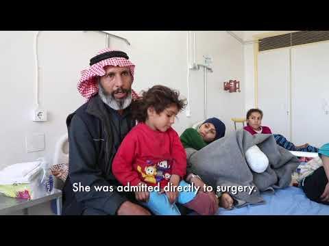 Children injured by mines in Syria