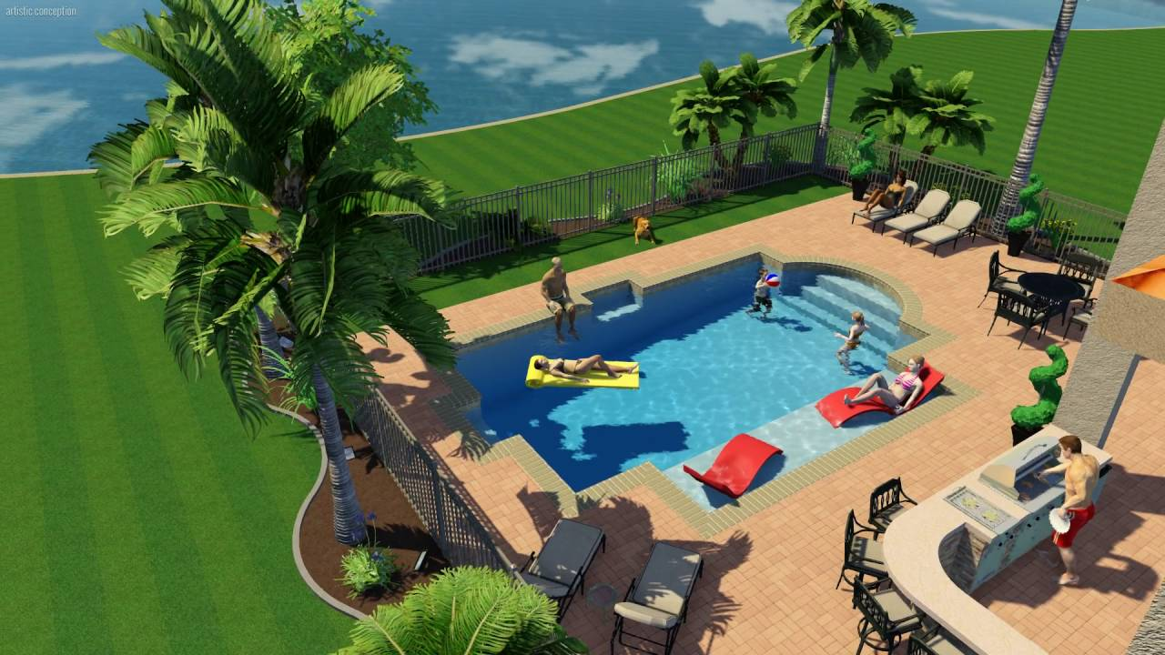 Las Vegas Inground Pools - 3D Pool Design - YouTube