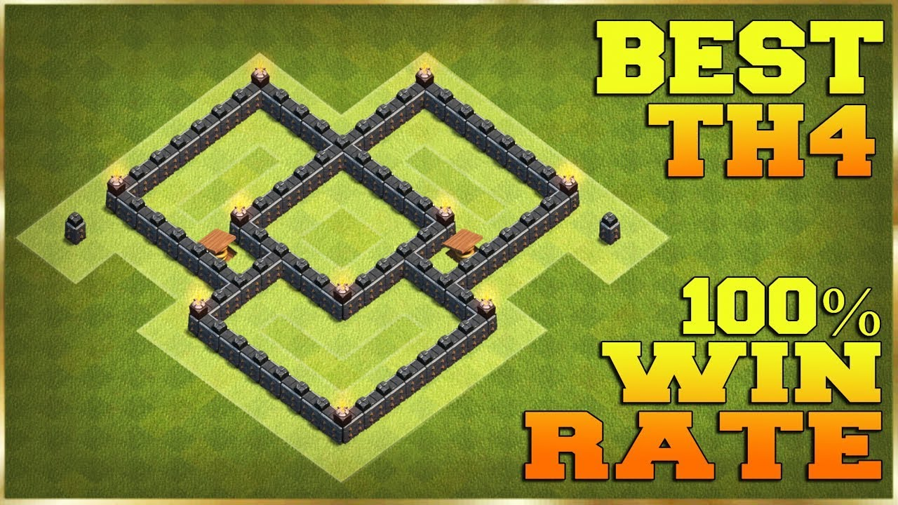 Clash Of Clans Town Hall 4 Best Base Layout 2018 Youtube