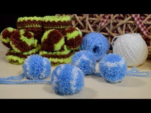 Помпоны из ниток, легко и просто...  How to make pompons from yarn.