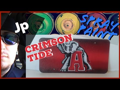 Roll Tide University of Alabama Spray Painting Car License plate