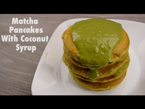 Matcha Pancakes with Coconut Syrup
