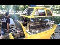 Old Fiat 500 Grilling Beef, Burgers and Skewers. Funny Street Food of Italy