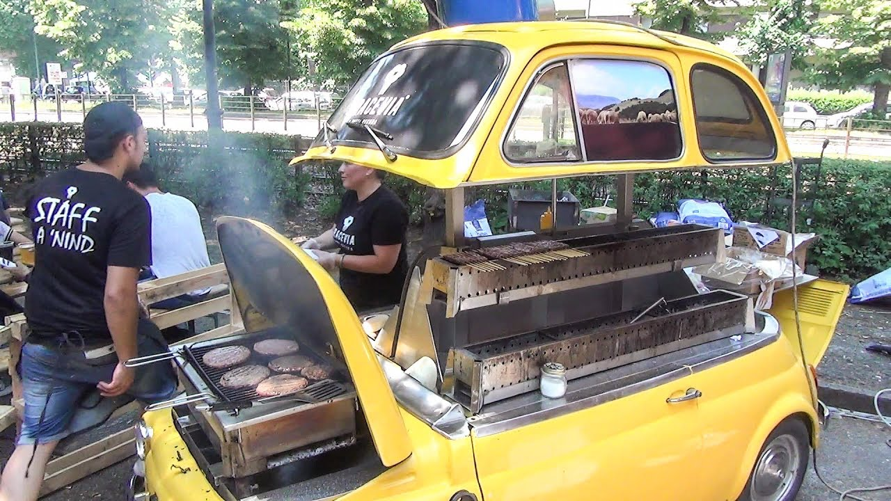 Old Fiat 500 Grilling Beef Burgers And Skewers Funny Street Food