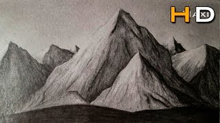 How to draw mountains whith pencil step by step, drawing landscape -Subtitled-